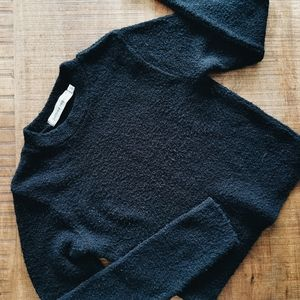 Vintage Jeffrey Rogers Fuzzy Black Longsleeve Crop
